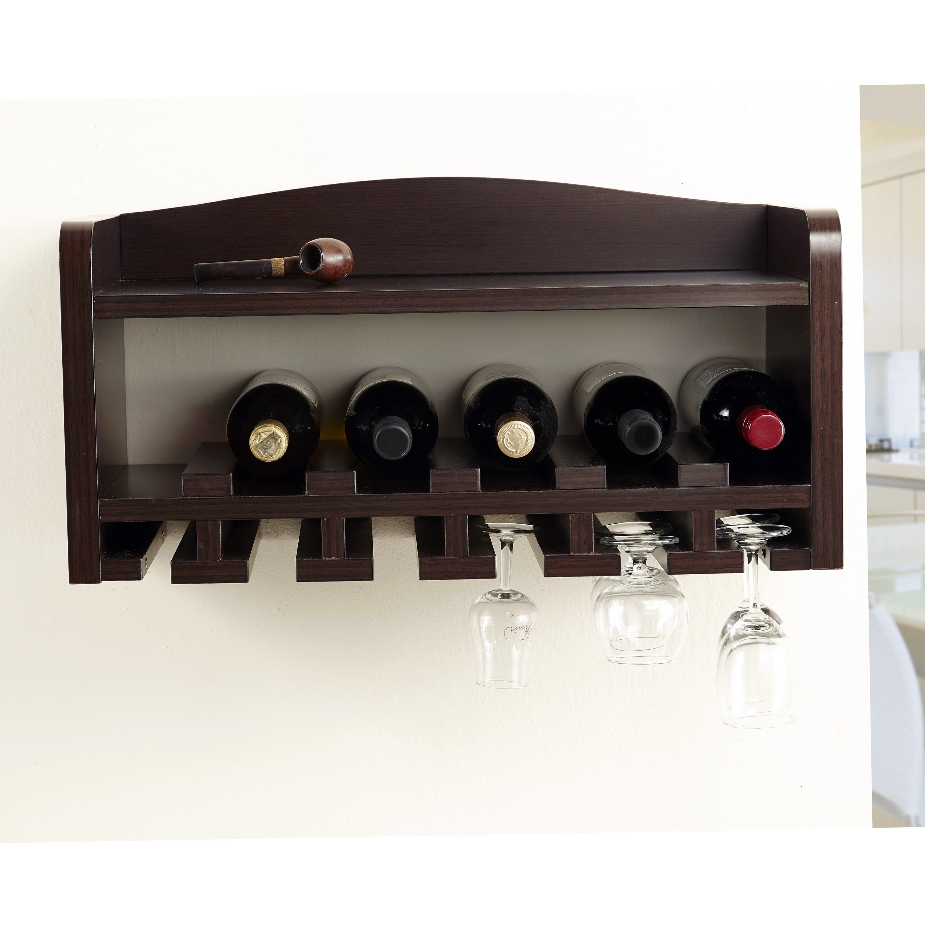 Hanging wine rack with glass holder - Dark Brown Wooden Wine Racks And Glass Holder