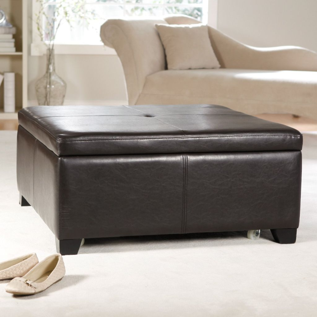 Dark Leather Large Square Storage Ottoman As Coffee Table