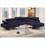 Dark Poundex Bobkona Modular Sectional With Glass Coffee Table