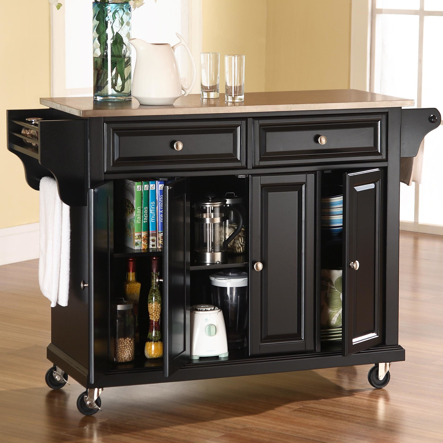 Beau Dark Wooden Kitchen Islands With Storage Place