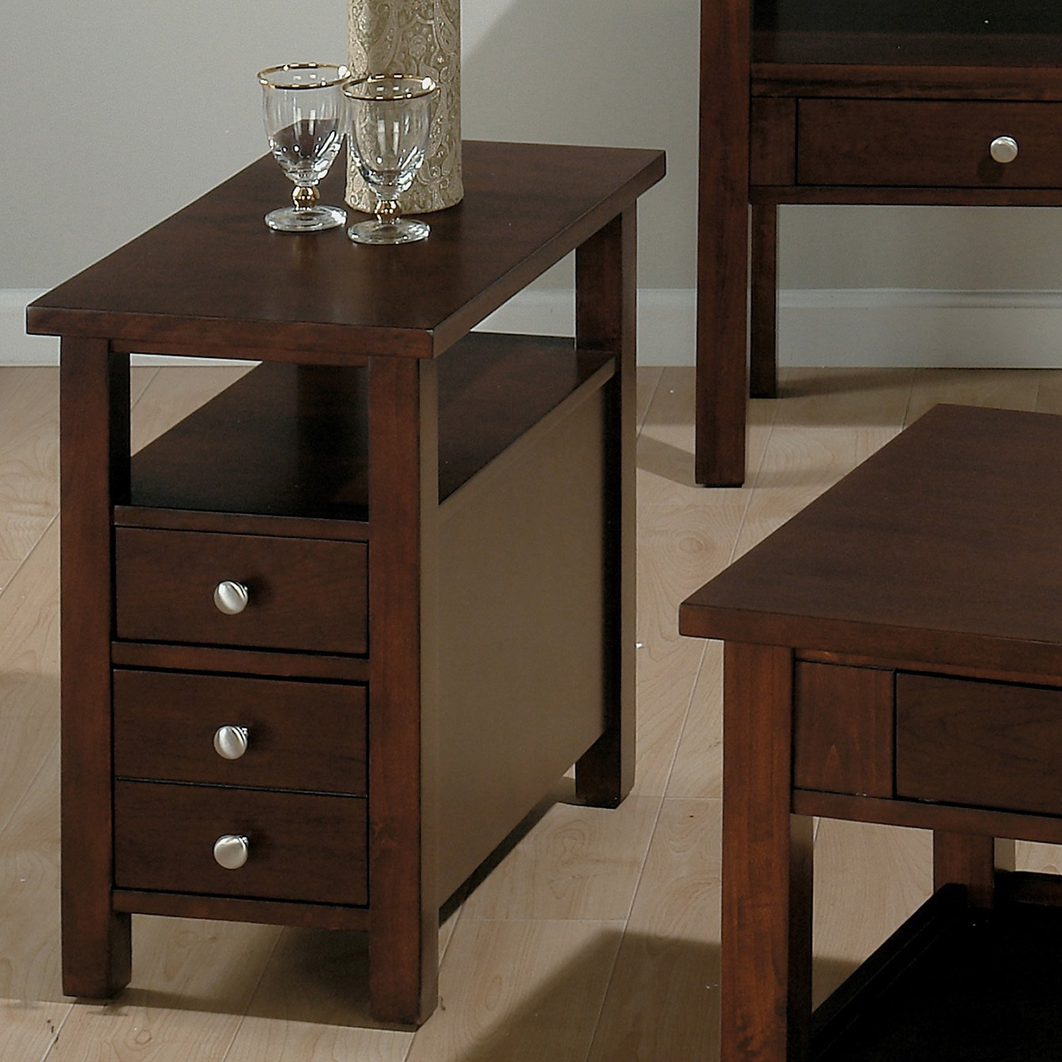 Dark Wooden Small End Table With Drawers