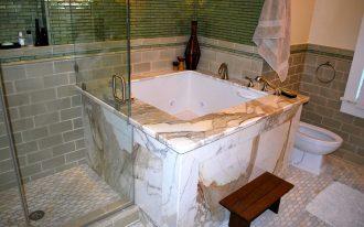 Dazzling-Soaking-Tub-method-San-Francisco-Asian-Bathroom-Inspiration-with-Asian-bidet-body-sprays-calcutta-gold-Glass-Tile-jacuzzi-tub-Japanese-Kohler-marble-master
