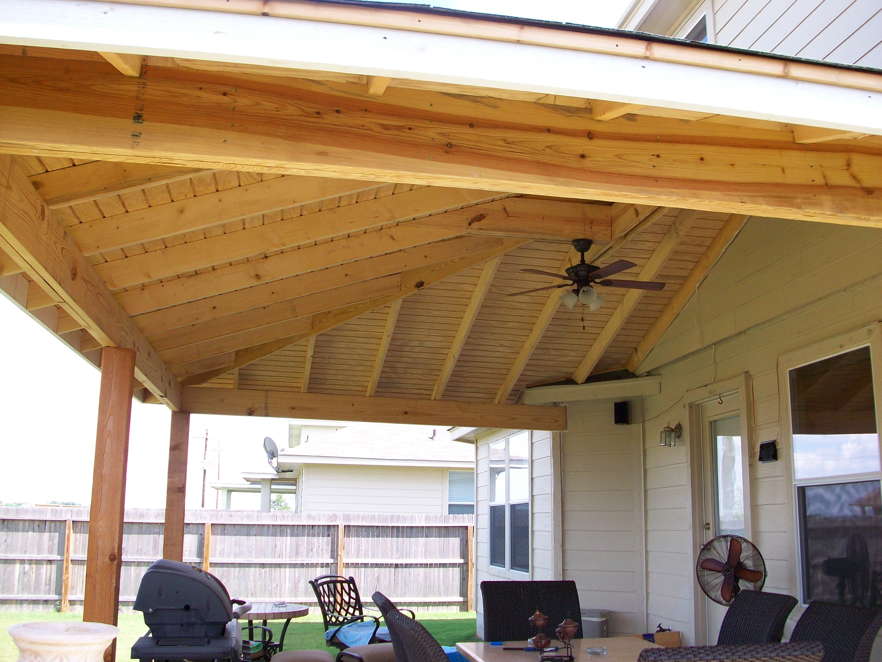 decorative patio cover wooden with fan - Patio Cover Ideas Designs
