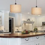 Double Convert Recessed Light To Pendant In Kitchen With White Wooden Cabinet And Big Kitchen Island