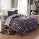 Elegant Comforter Sets For Men With White Bed Frame And Side Table