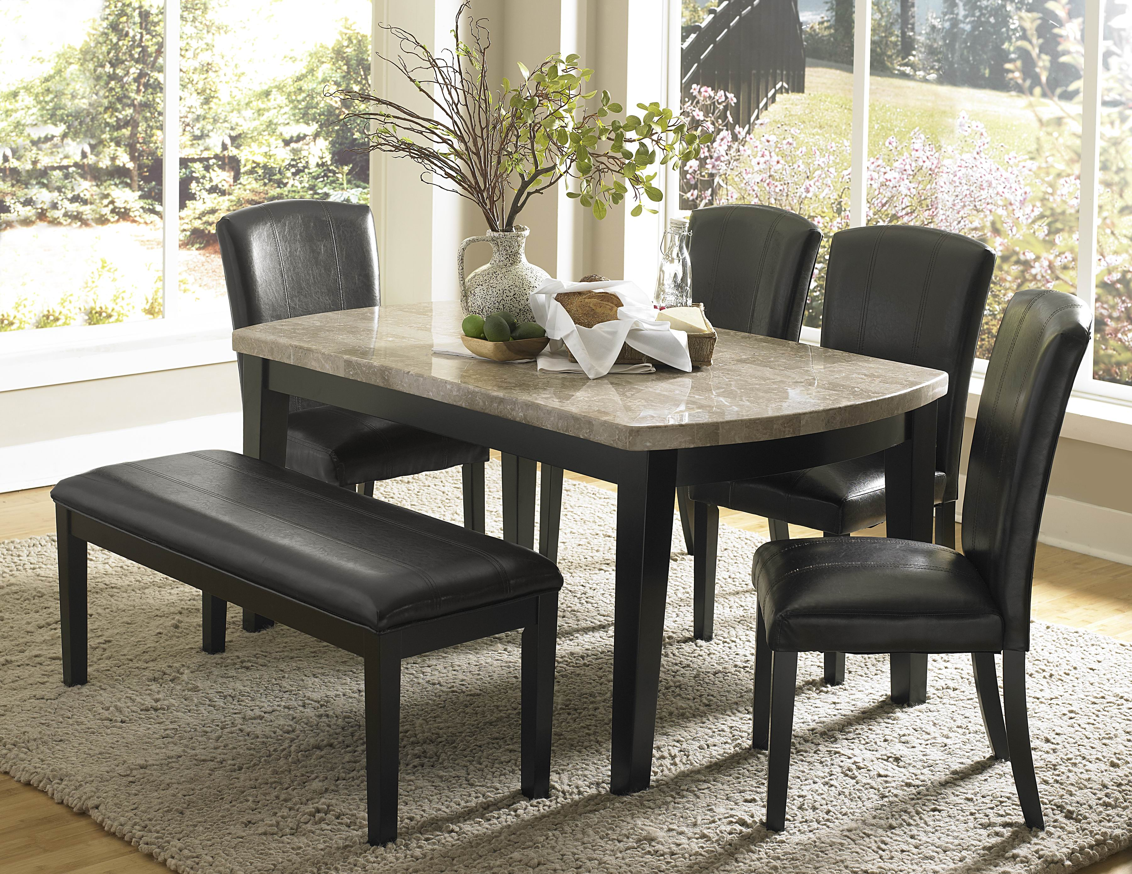 Beautiful granite dining table set homesfeed Black marble dining table set