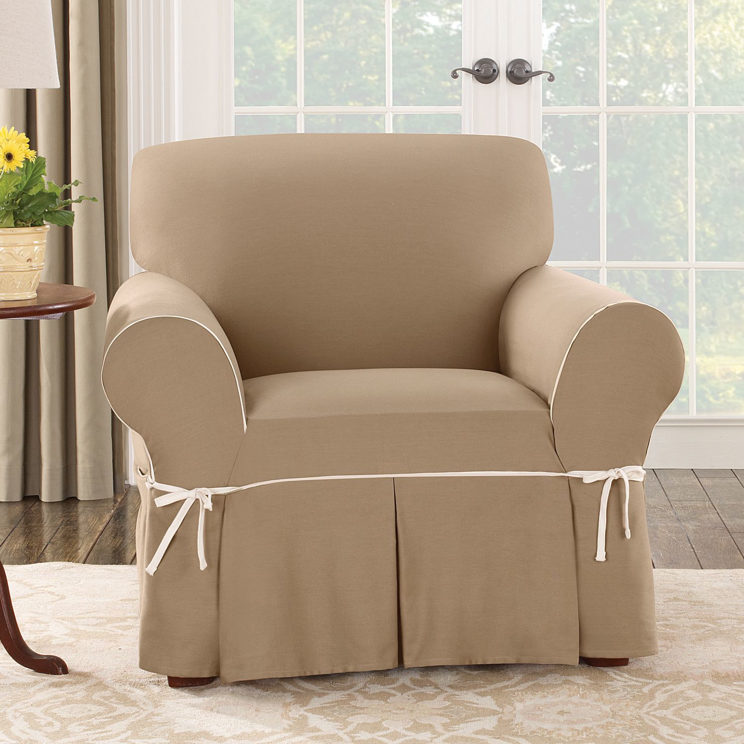 Fitted slipcovers for chairs sure fit slipcovers logan for Fitted furniture slipcovers