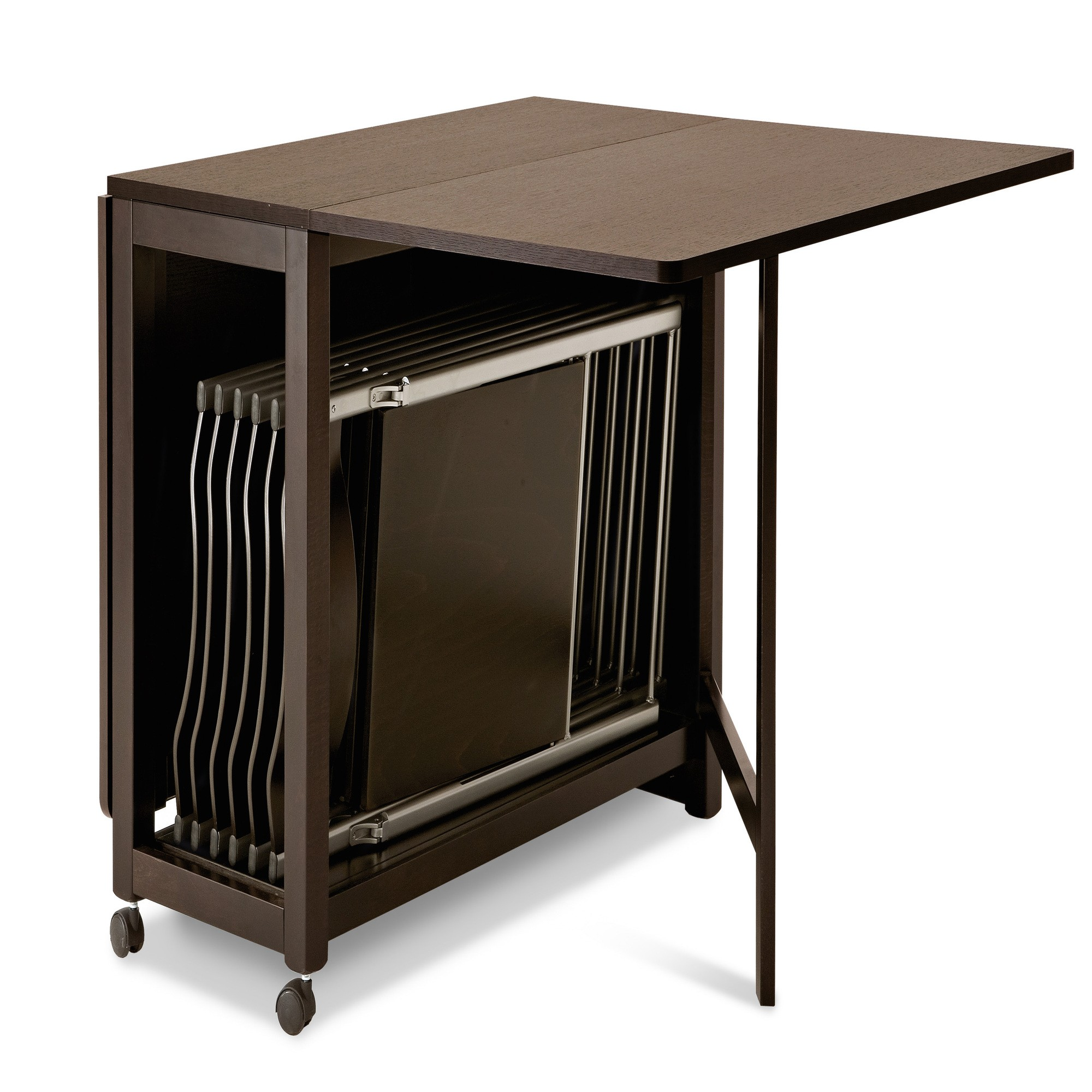 Folding Table Of Space Saver Dining Set With Rolling Idea