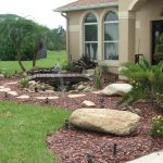 Front Large Rocks For Landscaping With Small Bridge And Water Fountain