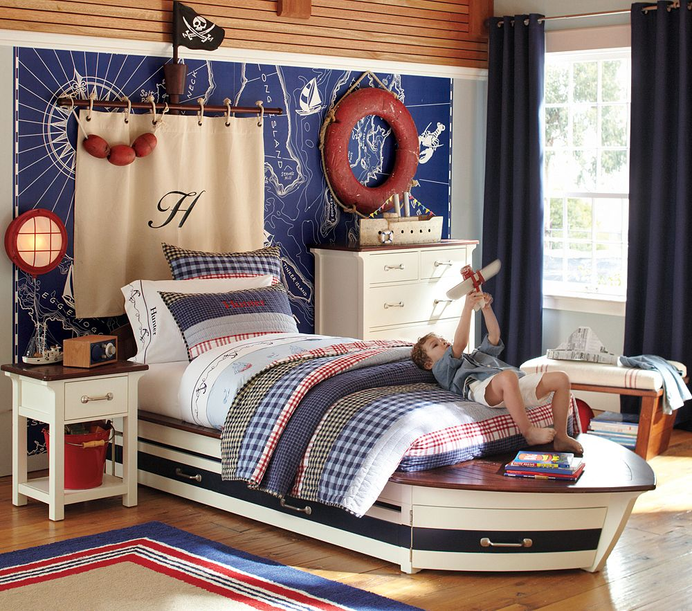 funky nautical themed for kids bedroom with black curtain and small table nautical furniture decor