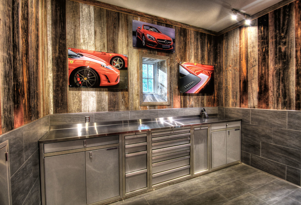Garage Finishing Ideas With Shed Rustic And Barn Wood Plus Grey Steel Cabinet