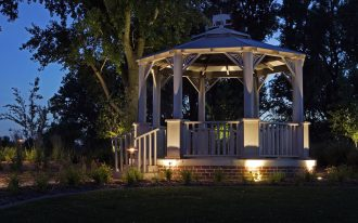Gazebo Lighting For Outdoor Area With Wooden Architecture