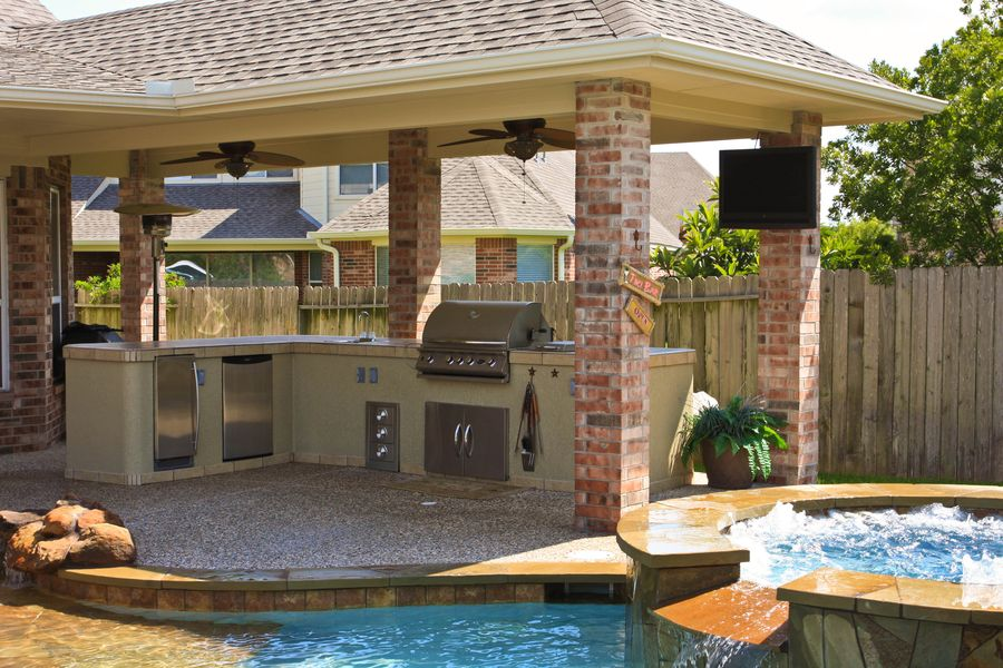 Gazebo Plans With Fireplace HomesFeed Beauteous Backyard Designs With Pool And Outdoor Kitchen Set