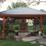 Gazebo Plans With Fireplace With Stone And Patio