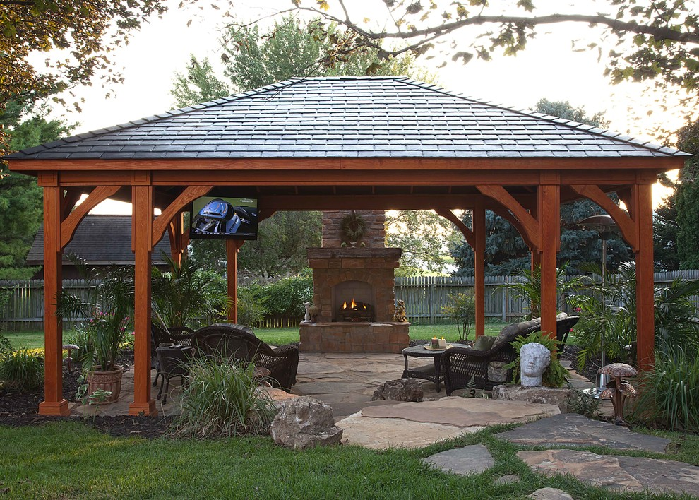 Gazebos with fireplace photo for Plans for gazebo with fireplace