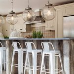 Globe Convert Recessed Light To Pendant In Kitchen With White Stools