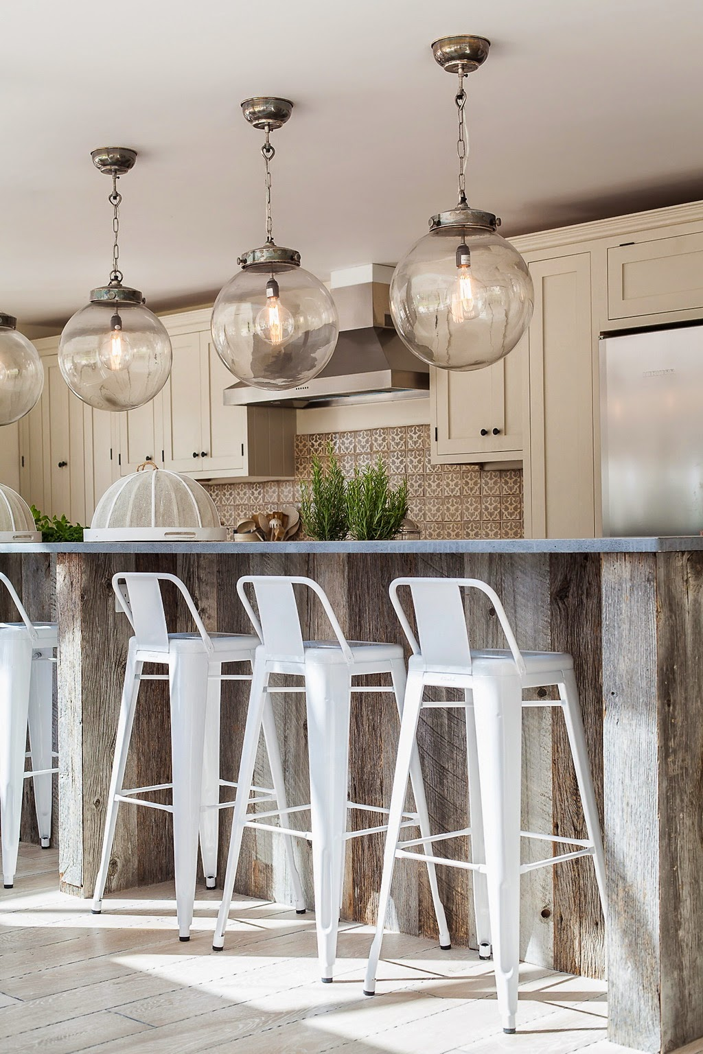 Globe Convert Recessed Light To Pendant In Kitchen With White Stools - Good Convert Recessed Light To Pendant HomesFeed