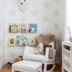 Gorgeous Glider White Modern Rocking Chair For Nursery With Wall Bookshelves And Star Wallpaper