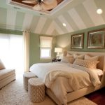 Green Coastal Master Bedroom With Nautical Accent On White Bed Pillows Chair Fur Rug And Curtains
