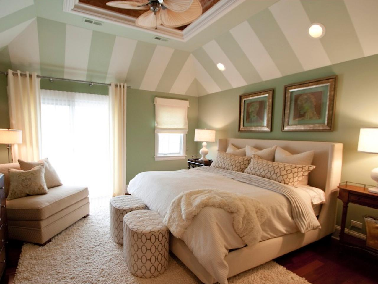 Green Coastal Master Bedroom With
