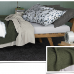 Green White Restoration Hardware Linen Sheets With Wooden Bed Frame