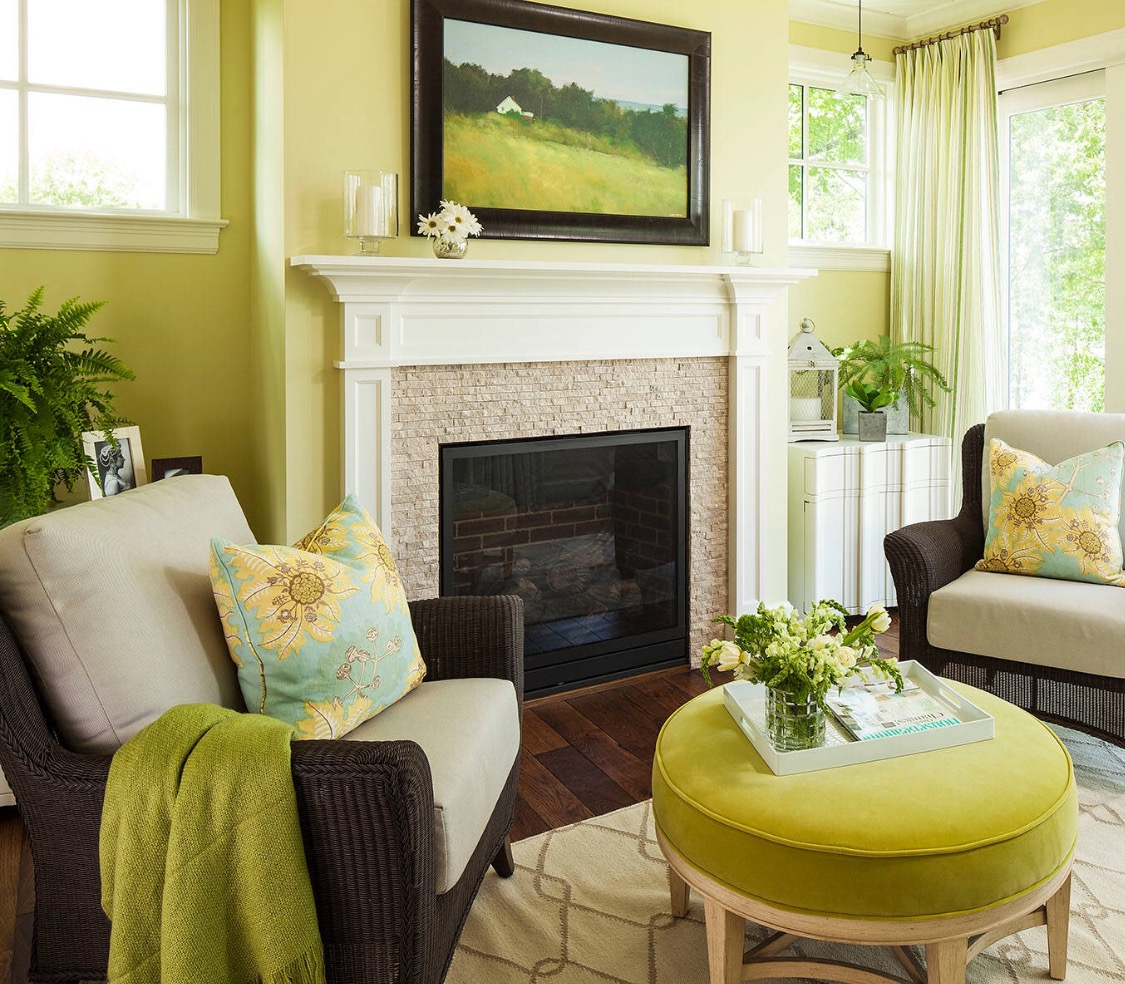 Wonderful Green Yellow Fresh Top Rated Interior Paint For Living Room With Fireplace  Chairs Round Ottoman And