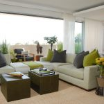 Grey And Green Pillows For Sofas Decorating With Double Wooden Coffee Tables