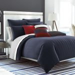 Grey And White Comforter Sets For Men With Red Pillows And Stripped Rug