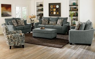 Grey Sofa And Chairs With Ottomans For Living Room Plus Brown Fur Rug