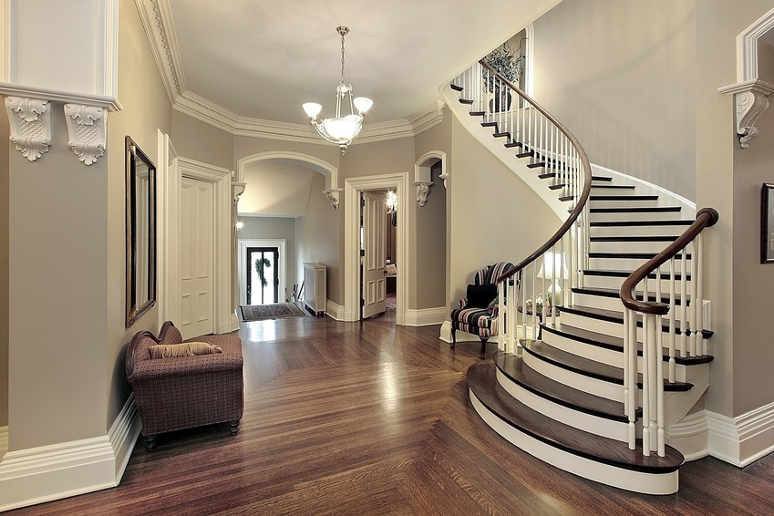Foyer With Curved Staircase Top Rated Interior Paint Gray Wall And Chairs