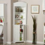 Home White Corner Linen Towel Near Cabinet Set And Floor Glass Vase