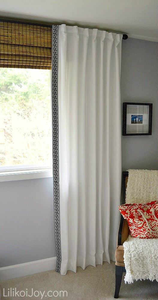 bamboo blinds ikea canada malaysia lamp shades with white curtain on grey wall plus accent chair