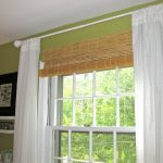 Ikea Bamboo Blinds With White Curtains On Green Wall