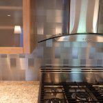 Ikea Stainless Steel Backsplash For Kitchen Near Stove And Wooden Glass Door Cabinet