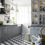 Ikea Stainless Steel Backsplash In Kitchen With Grey Cabinet Set And White Wall