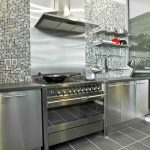 Ikea Stainless Steel Backsplash With Grey Cabinet And Stylish Wall Tiling