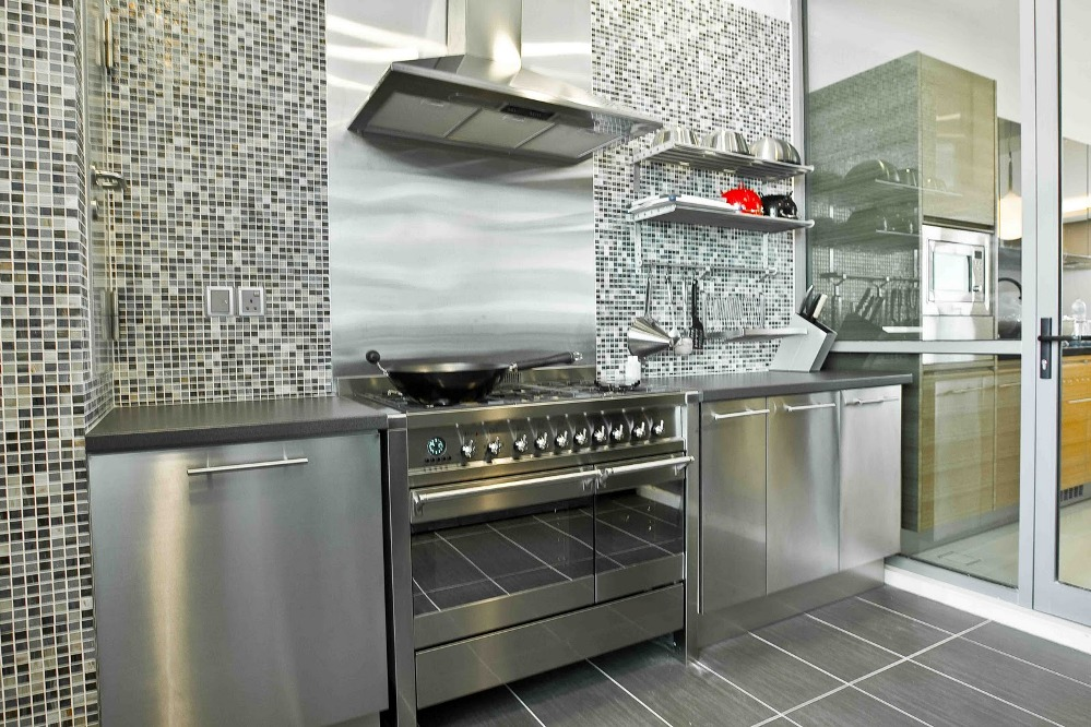 ikea stainless steel backsplash with grey cabinet and stylish wall tiling - Metal Tile Home 2016