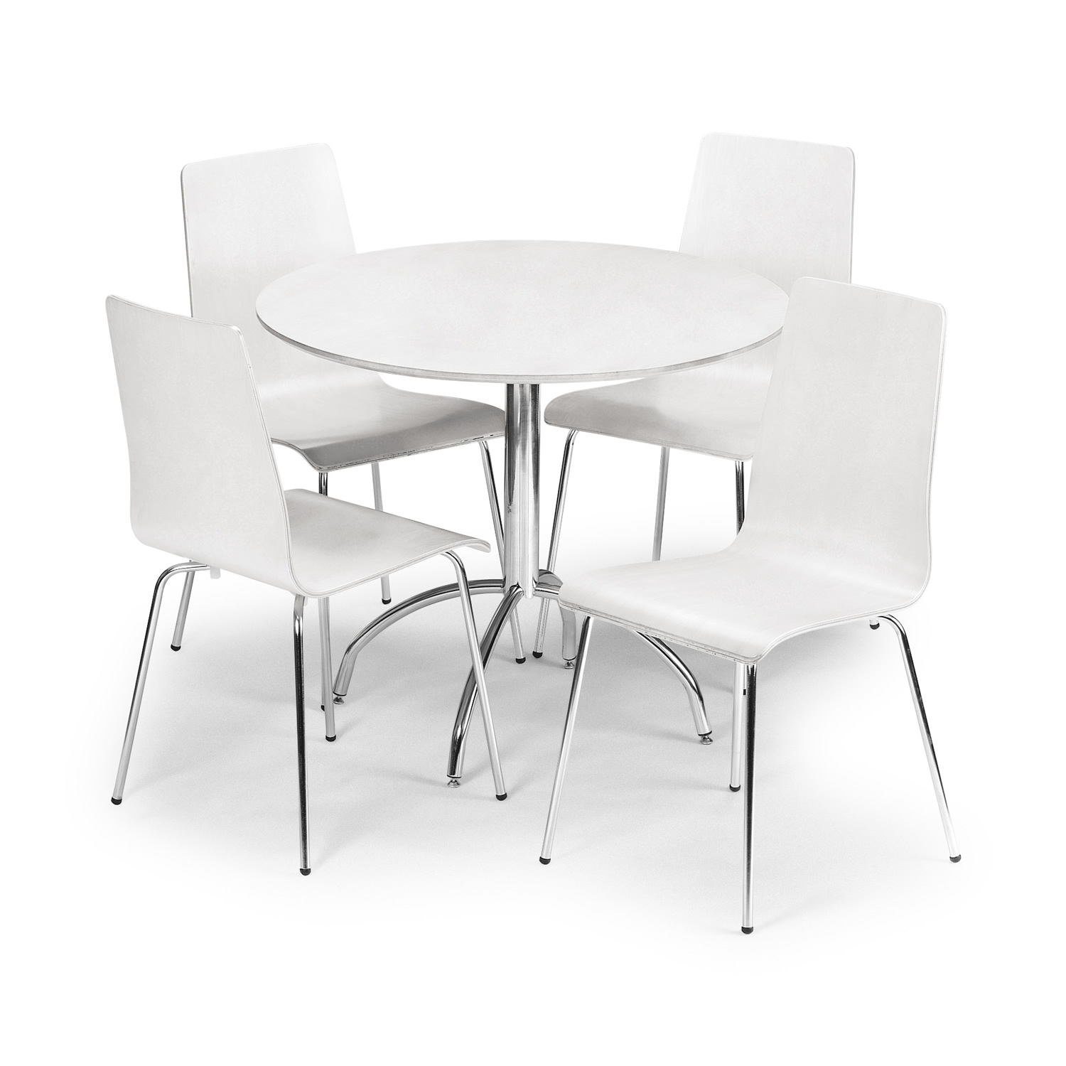 table and chairs. Interior White Round Wooden Table With Silver Steel Legs Of Four Chairs And W