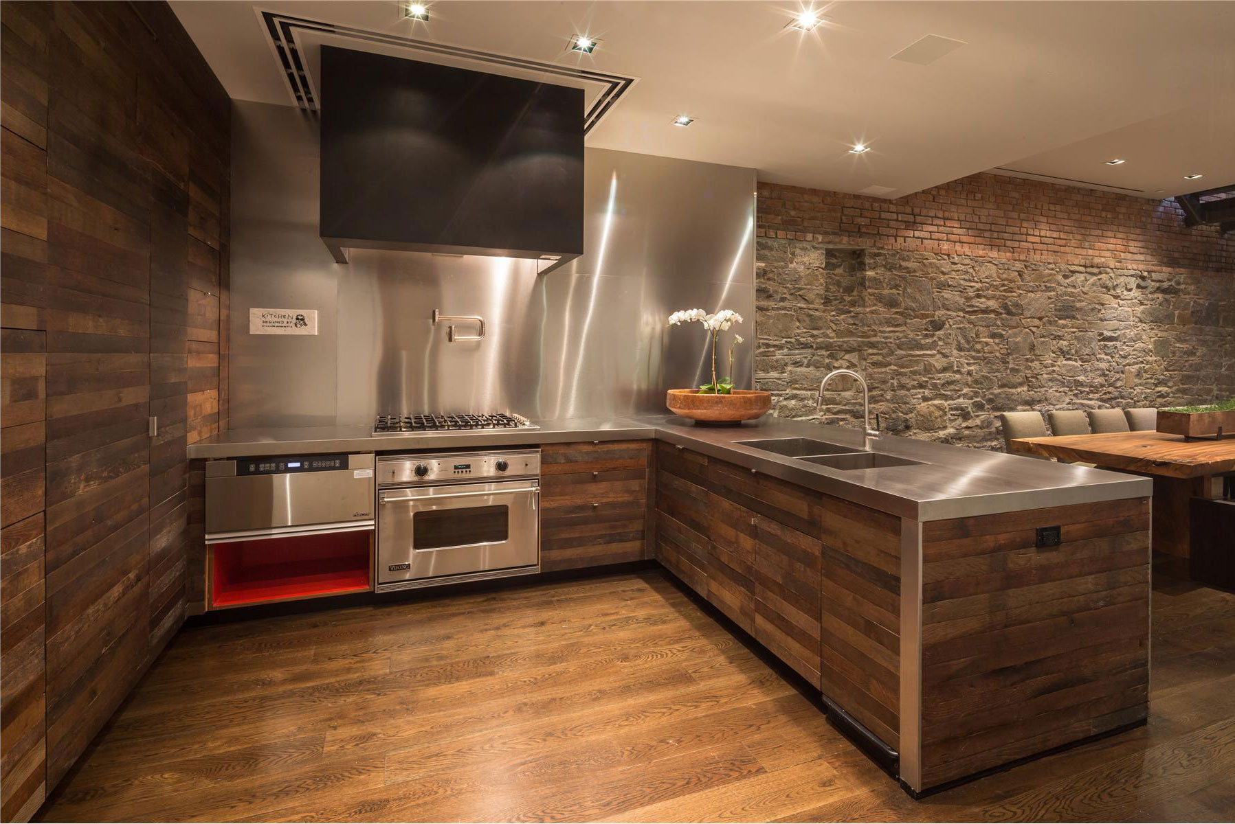 Kitchen Wall Covering Ideas With Steel Set