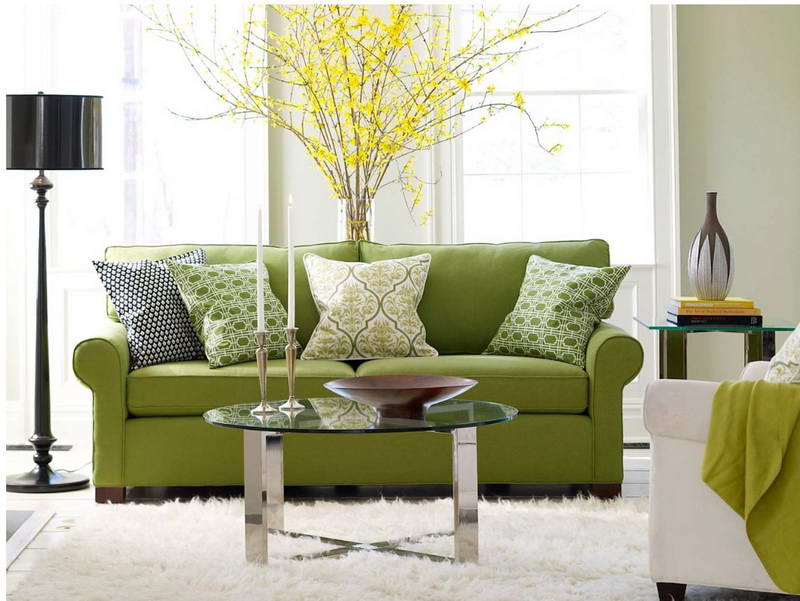 Captivating Light Green Sofa With Green Patterned Pillows For Sofas Decorating Glass  Round Table Black Standing Lamp