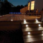 Lighting Design On Home Outdoor Wooden Deck With Stairs Design And Outdoor Furniture