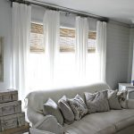 Long Ikea Bamboo Blinds With White Curtains And Sofa Plus Trunks And Old Fireplace