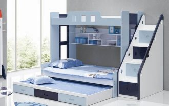 Modern Blue And White Toddler Bunk Beds With Stairs And Storage Places