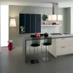 Modern Elegant White Stand Alone Kitchen Islands With Double Glass Stools And Squared Lighting