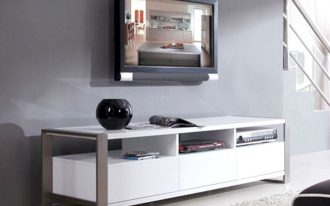 Modern High White Lacquer Media Console Under TV