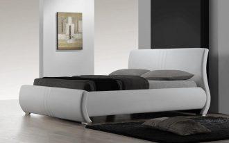 Modern King Bed Platform With Grey Pillows Bedsheet And Black Rug Of Ikea Design