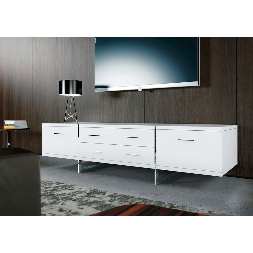 Modern Long White Lacquer Media Console With Flat TV On Wooden Wall