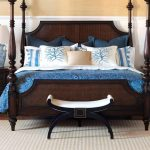 Nautical Bedroom With Wooden Bed Frame Blue And White Bed Double Side Table With White Standing Lamps