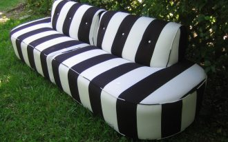 Outdoor Striped Black And WHite Couch