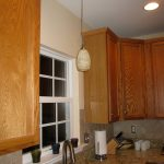 Pendant Lighting Convert Recessed Light To Pendant In Kitchen With Wooden Kitchen Cabinet